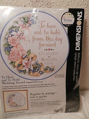 NEW Dimensions To Have and to Hold Wedding Record Counted Cross Stitch Kit NIP