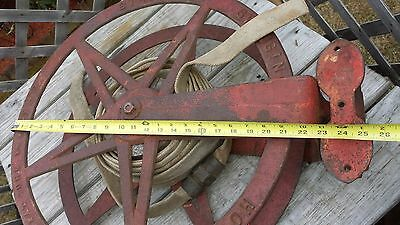Super Rare 19c Antique 1892 Cast Iron STAR Swinging WALL MOUNTED Fire Hose Reel