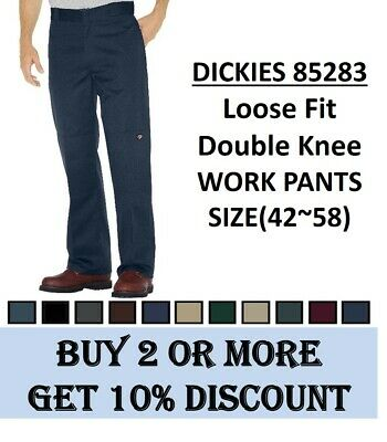 NEW MENS Dickies Loose Fit Double knee Work Pants(#85283) Sizes(42~58), 6 Colors