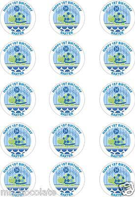 15 X Personalised Blue Turtle 1St Birthday/1 Year Icing/Rice Cup Cake Toppers