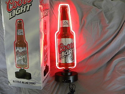 Coors Light Beer Light Bottle Neon Sign Game Room Man Cave, In Box