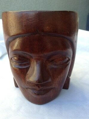 """Vintage Wooden Mug with Face Hand Carved Solid Darker Colored Wood Large Cup 4"""""""