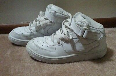 *NIKE* KIDS AIR FORCE 1 ALL WHITE SNEAKERS SHOES SIZE 3Y Youth LOOK CUTE HTF --