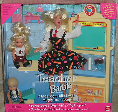 TEACHER BARBIE (RARE WITH NO PANTIES) & 2 STUDENTS 1995