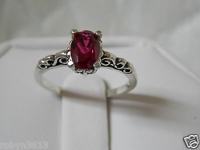 red ruby scroll antique 925 sterling silver ring size 5 USA made Vintage style