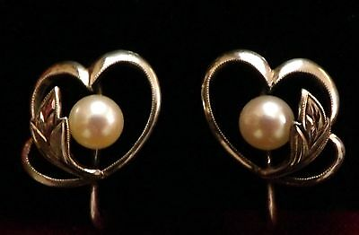 Vintage MIKIMOTO Cultured Pearl Silver Earrings - Hearts - Beautiful - Classic