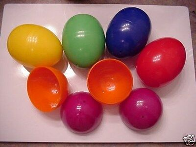 "Eggs Plastic Easter Eggs Six 3 1/2"" -Two Piece Matchbox Egg Lot of 6 !"
