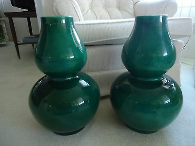 Pr chinese double gourd apple green crackle glaze vases large China Dynasty Vase