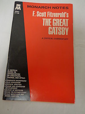 Monarch Notes F.Scott Fitzgerald's ( The Great Gatsby)1965 A Critical Commentary