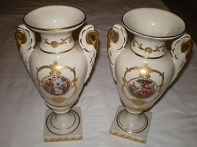 Vrg Set 2 Bolted Porcelain Urn Vase Nymph Maiden Lady Boucher French Style 9.5""
