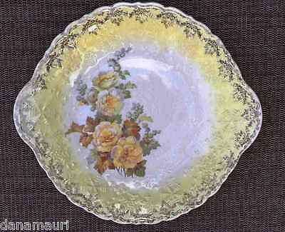 VINTAGE LEIGH WARE USA 22KT WARRANTED GOLD YELLOW ROSE OF SHARON HANDLED PLATE