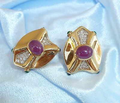 Vintage 14 K Yellow Gold Art Deco Earrings W/Natural Rubies, Sapphires, Emeralds