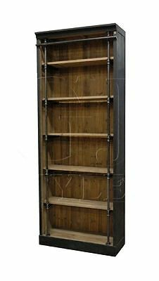 Bookcase Matte Black Pine Iron Front Bars British Style Rustic Charm Ships Free
