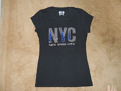 Black New York City Statue of Liberty Empire Building Souvenir T Shirt Top Large