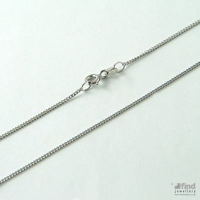 New Ladies Jewellery Solid 9ct White Gold 20 inch Curb Pendant Chain 1.3g RRP£65