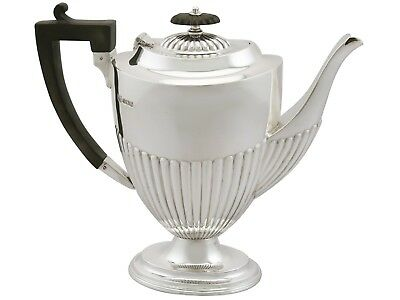 Antique George V Sterling Silver Coffee Pot Queen Anne Style Sheffield 1920s