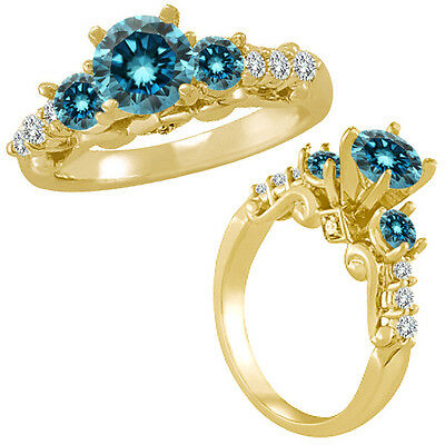 1 Ct Blue Diamond 3 Stone Eternity Engagement Wedding Ring 14K Yellow Gold