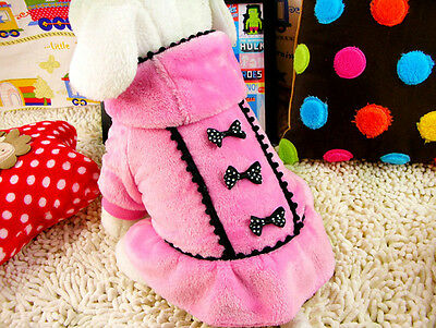 New Fashion Pet Dog Teddy Autumn Winter Jacket Coral Fleece Coat Dress Pink M 40
