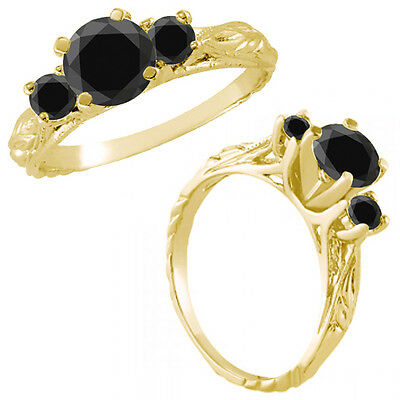 1 Ct Black Diamond Fancy 3 Three Stone Engagement Wedding Ring 14K Yellow Gold