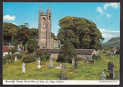 View of Drumcliffe church, County Sligo, Ireland. Stamp/postmark 1968