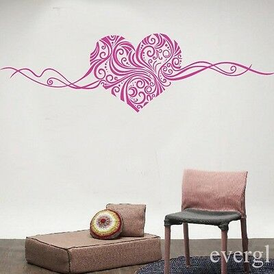 NEW Rose Red Sweet Love Heart Pattern DIY PVC Wall Stickers Decal Room Decor