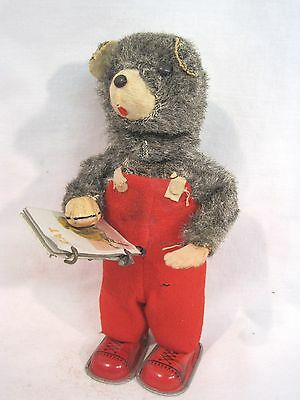 "Wind Up Tin Litho Bear Reading a Book, Pages Flip JAPAN Toy  7"" Tall"