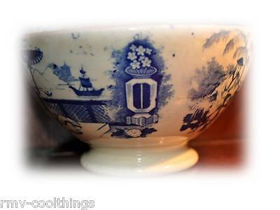 "RARE BOWL 1800'S MAASTRICHT PETRUS REGOUT & CO ""PAJONG"" BLUE & WHITE SEMI CHINA,"