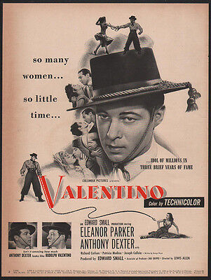 1951 VALENTINO Theater Movie Release - ANTHONY DEXTER ELEANOR PARKER VINTAGE AD