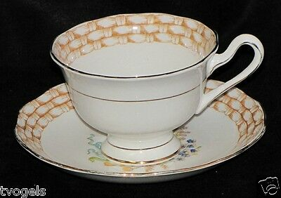 Antique 1940s Royal Albert England Porcelain China Floral Basket Teacup/Saucer