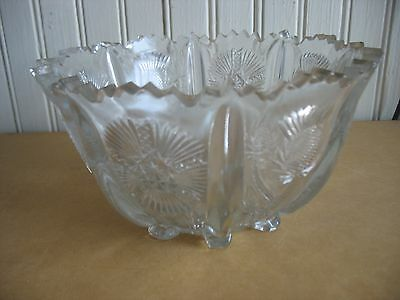 ANTIQUE HIGBEE Clear GLASS EAPG  PANELED THISTLE BOWL DISH 1880S