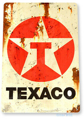 "TIN SIGN ""Texaco Rust"" Oil Gas Station Pump Parts Service Auto Shop Garage A645"