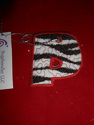 """New Initial Red, Black and White """"P"""" Key Chain Luggage Tag by Bugaboodles"""