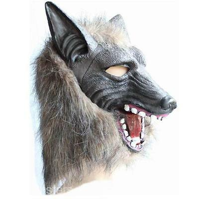 Halloween Costume Cosplayer Wolf Head Mask Creepy  Latex Fur Mane Gag Stage prop