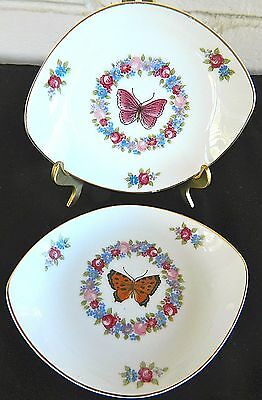 Four Floral Lefton China Oval Snack Dessert Plates Handpainted Butterflies