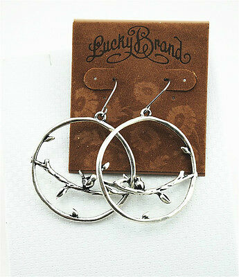 New Lucky Brand Fashion Silver Ton Branch Bird Parrty Casual Retro Hook Earrings