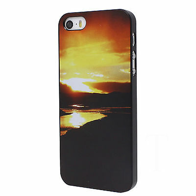 Dusk Scenery Pattern Luxury Black Hard Back Housing Case Cover for iPhone 5 5S