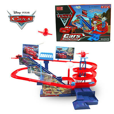 Disney Car Pixar Mcqueen Electronic Racing Track Music Sound Led Light Kid Toy
