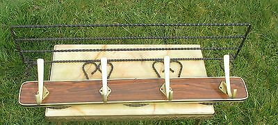 Vintage Mid Century Wood  panel Brass Coat Hat Rack Wrought Iron Authentic