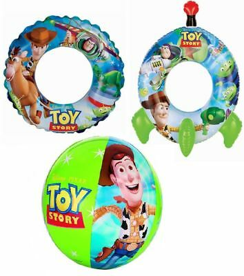 Intex Disney Toy Story Inflatable Blow Up Kids Beach Ball & Rocket Swim Ring
