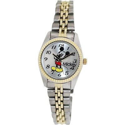 Disney Women's Mickey Mouse Gold & Silver-Tone Stainless Steel Band Watch MCK618