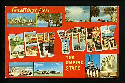 Large Letter chrome Vintage postcard New York NY, Multi view greetings