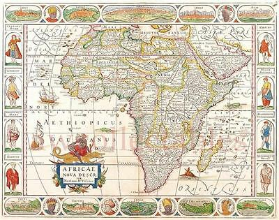 "NICOLAS VISSCHER  REPRODUCTION MAPS A2  24""x 17"" WORLD AFRICA EUROPE CHOICE OF 5"