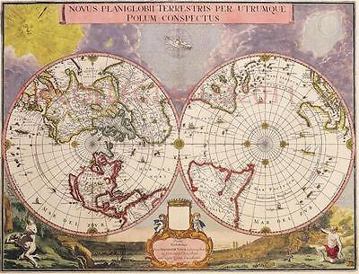 JOAN BLAEU DOUBLE HEMISPHERE POLAR MAP Circa 1695 REPRODUCTION A2+
