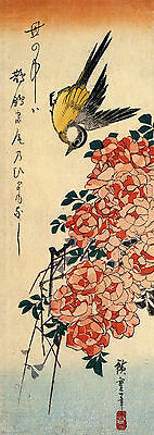 Wagtail and Roses a Reproduction Woodblock Print by Hiroshige