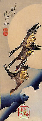 3 Wild Geese Flying 2  a Reproduction Woodblock Print by Hiroshige