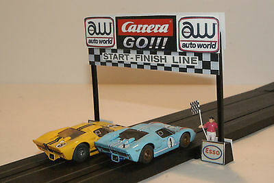 CARRERA GO  START FINISH LINE has FLAGMAN  for LAYOUTS with SLOT CAR GRANDSTANDS