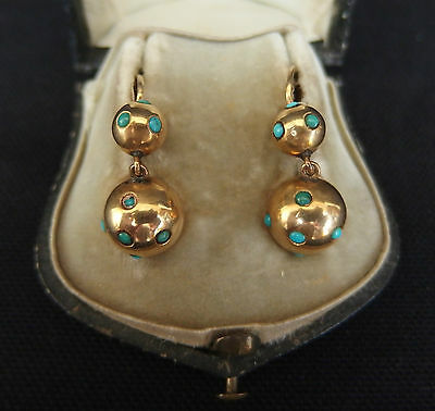 paire de boucles d'oreilles dormeuses trembleuses or massif / gold earrings 19th