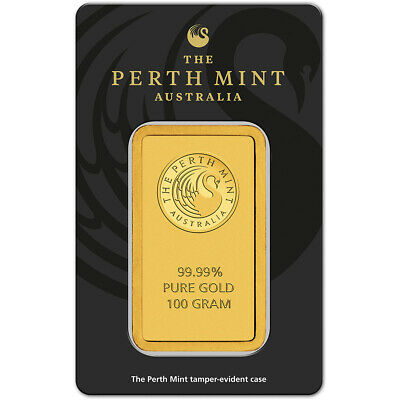 100 gram Gold Bar - Perth Mint - 99.99 Fine in Assay