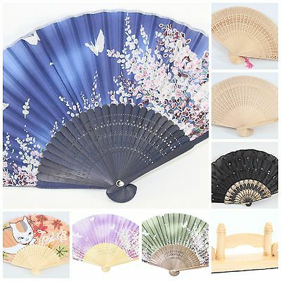 Chinese Japanese Silk Lace Floral Butterfly Wooden Cat Folding Hand Fans Stand