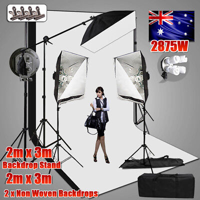 Studio Backdrop Continuous Lighting Photography Softbox Boom Arm Light Stand Kit